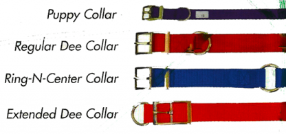 Our Nylon Hunting Dog Collar lets you choose buckle style Extended Dee Regular Dee or Ring N Center in collar lengths of 8 inches to 26 inches long and 5/8 for a puppy and then 3/4 inch, 1 inch, and 1.5 inches And then we have lots of dog collar colors available