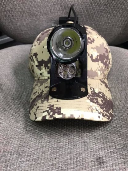 Outlaw Lights Camo Soft Hat lightest, brightest coon hunting light for your money lights have a lifetime warranty and with red, green, or amber with a clear walk light